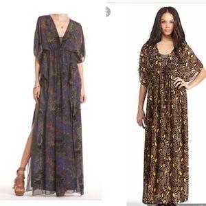 Rachel Roy Angelina Dress Sheer Palm Caftan sz M